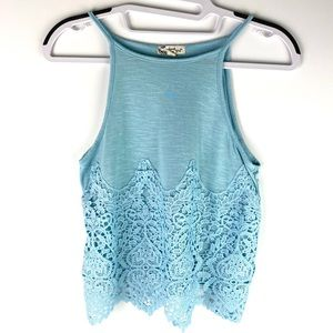 About a Girl Halter Lace Tank Blue Small